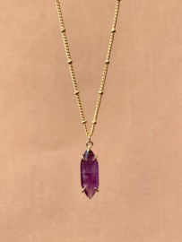 AMETHIST GOLD PLATED KETTING