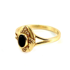 OLD TIMER BLACK AGATE RING GOLD VERMEIL MUJA JUMA