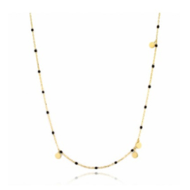 BLACK BEADS NECKLACE GOLD VERMEIL