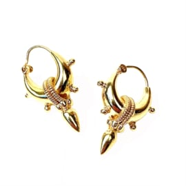 SPIKE 5 GOLD VERMEIL TRIBAL HOOPS