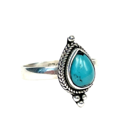 TURQUOISE TEARDROP RING STERLING SILVER