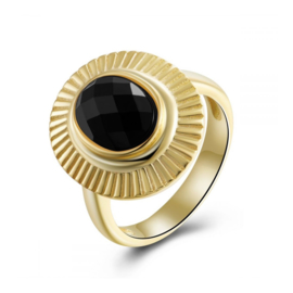 ZWARTE ONYX OVAL RING GOLD VERMEIL 17.75