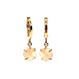 ROSE QUARTZ GOLD PLATED EARRINGS