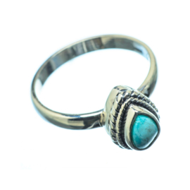 TURQUOISE RING STERLING SILVER 18.25