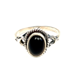TINY OVAL ONYX RING STERLING SILVER