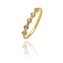 LABRADORITE 5-STONE RING GOLD VERMEIL