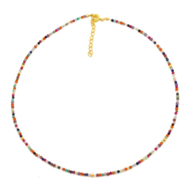 MULTI STONE BEADED GOLD VERMEIL NECKLACE