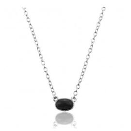 OVAL BLACK ONYX NECKLACE STERLING SILVER