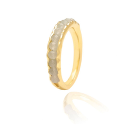 CHALCEDONY BEADED RING GOLD VERMEIL