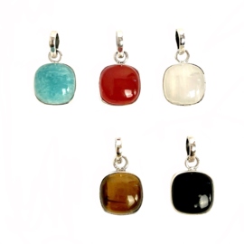 SQUARE GEMSTONE PENDANT STERLING SILVER