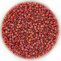 MIYUKI DELICA 2 MM KRALEN, OPAQUE FROSTED RAINBOW CARDINAL 11-2306