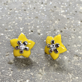 CRYSTAL FLOWER EARSTUDS STERLING ZILVER