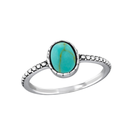 OVAL TURQUOISE RING STERLING ZILVER
