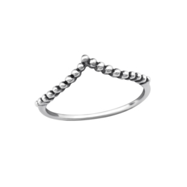 DOTTED CHEVRON RING STERLING ZILVER