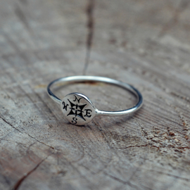 COMPASS RING STERLING ZILVER