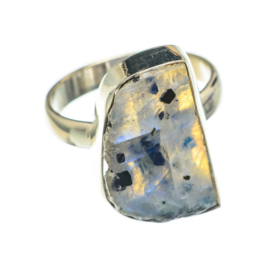 RAW MOONSTONE RING STERLING SILVER 19
