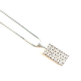 WHITE CRYSTAL STERLING ZILVER KETTING