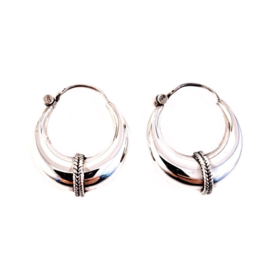 STRIPE HOOPS STERLING SILVER