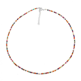 MULTI COLOR STONE BEADED NECKLACE