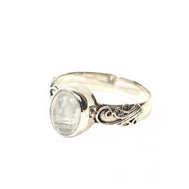 MAANSTEEN OVAL RING STERLING ZILVER 17.25