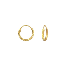 DIAMOND CUT HOOPS GOLD VERMEIL OORBELLEN 10MM