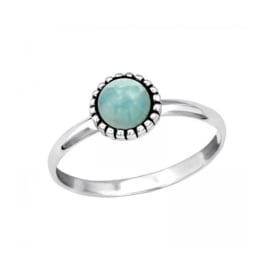 ROUND AMAZONITE RING STERLING ZILVER