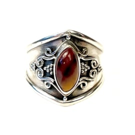 MOOKAIET MARQUISE BOHO RING STERLING ZILVER