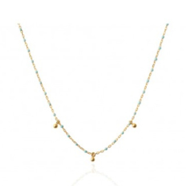 TURQUOISE BEADS  NECKLACE GOLD VERMEIL