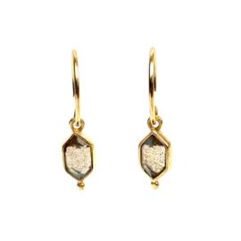 DIAMOND DOT LABRADORITE GOLD VERMEIL EARRINGS / MUJA JUMA