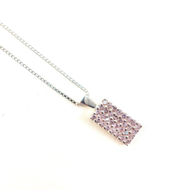 PINK CRYSTAL STERLING ZILVER KETTING