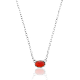 OVAL RUBY STERLING SILVER NECKLACE