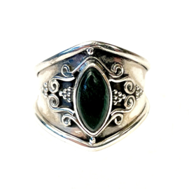 GREEN JADE MARQUISE BOHO RING STERLING SILVER