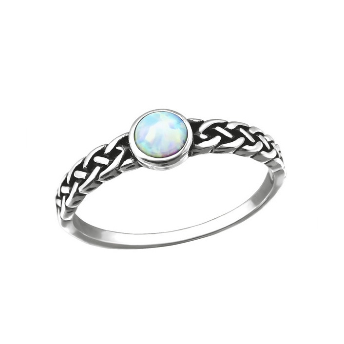 FIRE SNOW BRAIDED RING STERLING ZILVER