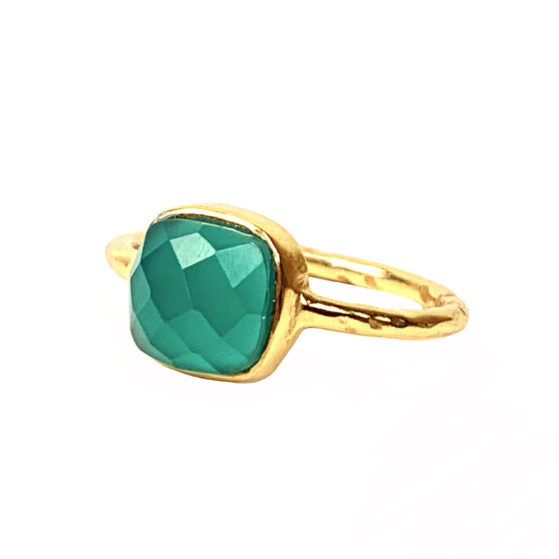 GREEN ONYX RING GOLD VERMEIL
