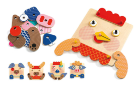 Djeco houten educatief spel Crea Faces  2+