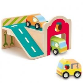 Djeco houten mini garage met auto's