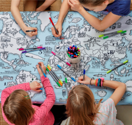 Eat Sleep Doodle tafelkleed worldmap