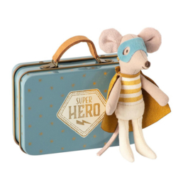 Maileg Super Hero mouse in suitcase (little brother)