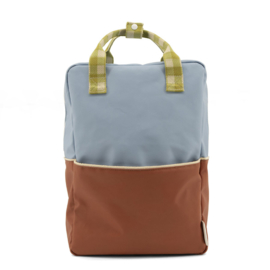 Sticky Lemon large backpack | colourblocking | blue berry + willow brown + pear green
