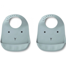 Liewood silicone bib 2-pack rabbit Sea Blue