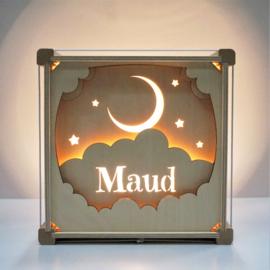 Houten lamp met naam Maan en Sterren