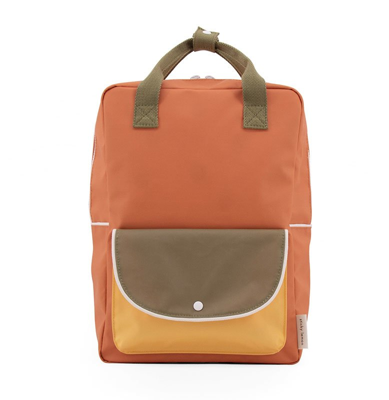 Sticky Lemon large backpack wanderer | faded orange + seventies green + retro yellow