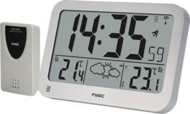 Fysic FKW-2200 Jumbo klok met weerstation - Wekker en weerstation - Zilver / Wit