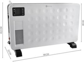 Elektrische radiator Convectieverwarmer met afstandsbediening LCD Display Zwart / Wit 8962