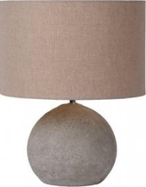 Lucide Boyd Tafellamp Hoogte 35,5 cm Betonvoet Grijs / Juten kap Taupe
