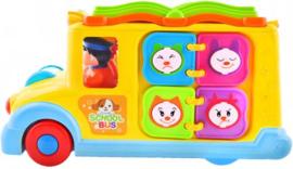 Schoolbus met Boek - Geluid - Automatisch Rijden - Leerzaam - Veel speelplezier voor kinderen! Met licht en Geluid