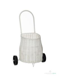 Kunststof trolley met rieten effect -  wit