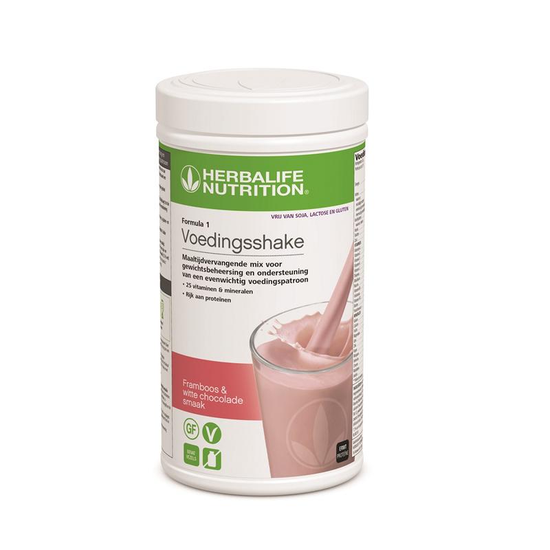 F1 Vrij van gluten, lactose en soja shake (Framboos & witte chocolade)