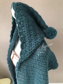 Sjaal met capuchon groen