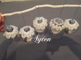 Set met 5 glazen kerstballen
